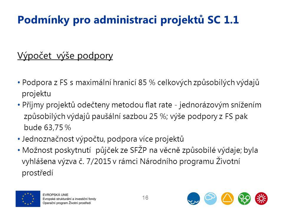 Podmínky pro administraci projektů SC 1.1 Výpočet výše podpory Podpora z FS s maximální hranicí 85 % celkových způsobilých výdajů projektu Příjmy projektů odečteny metodou flat rate - jednorázovým snížením způsobilých výdajů paušální sazbou 25 %; výše podpory z FS pak bude 63,75 % Jednoznačnost výpočtu, podpora více projektů Možnost poskytnutí půjček ze SFŽP na věcně způsobilé výdaje; byla vyhlášena výzva č.