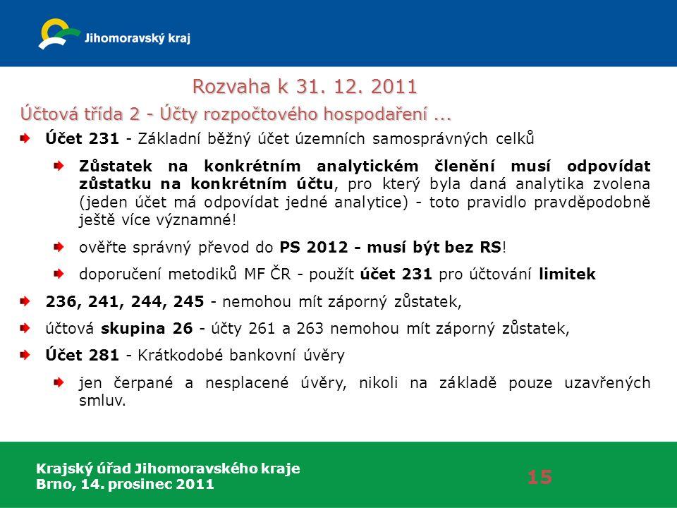 Krajský úřad Jihomoravského kraje Brno, 14. prosinec 2011 Rozvaha k 31. 12. 2011 15 Účtová třída 2 - Účty rozpočtového hospodaření... Účet 231 - Zákla