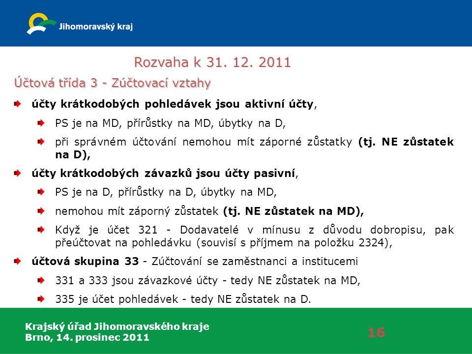 Krajský úřad Jihomoravského kraje Brno, 14. prosinec 2011 Rozvaha k 31. 12. 2011 16 Účtová třída 3 - Zúčtovací vztahy účty krátkodobých pohledávek jso