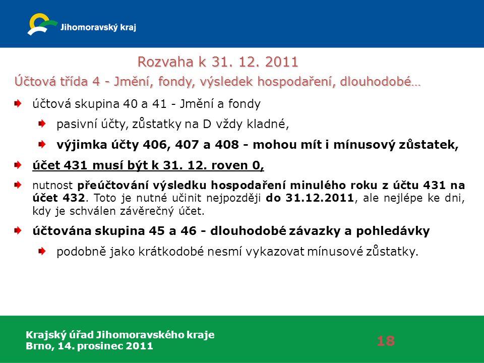 Krajský úřad Jihomoravského kraje Brno, 14. prosinec 2011 Rozvaha k 31. 12. 2011 18 Účtová třída 4 - Jmění, fondy, výsledek hospodaření, dlouhodobé… ú