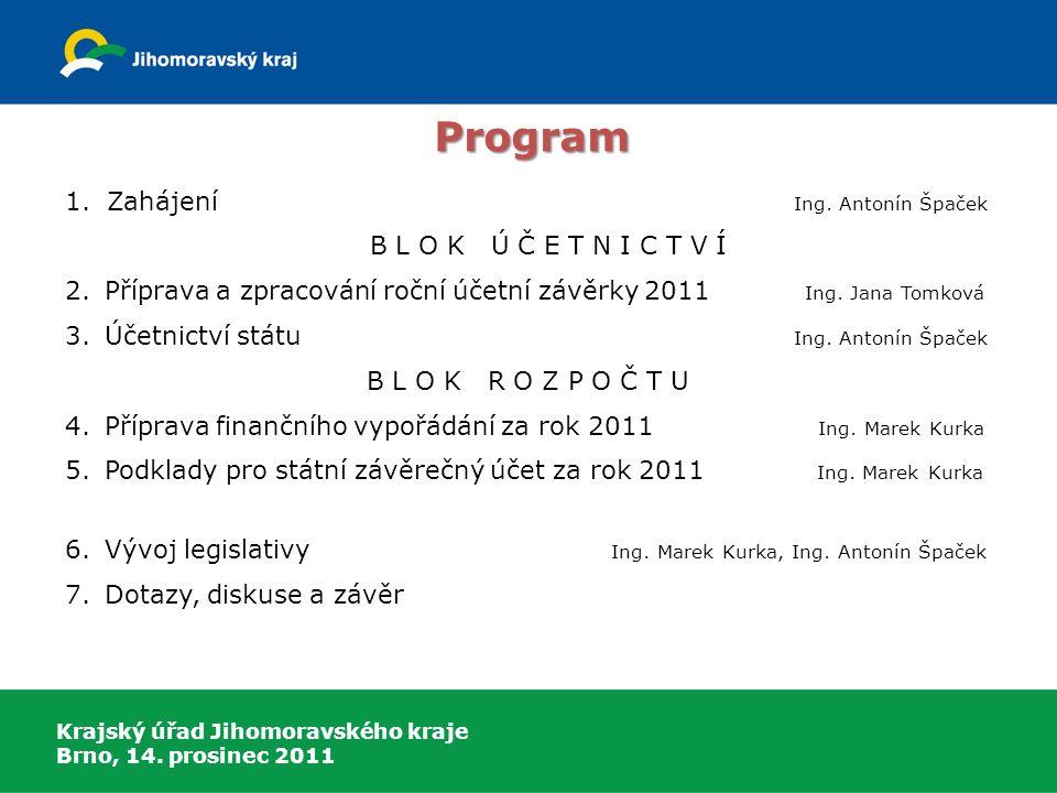 Krajský úřad Jihomoravského kraje Brno, 14. prosinec 2011 1. Zahájení Ing. Antonín Špaček B L O K Ú Č E T N I C T V Í 2.Příprava a zpracování roční úč