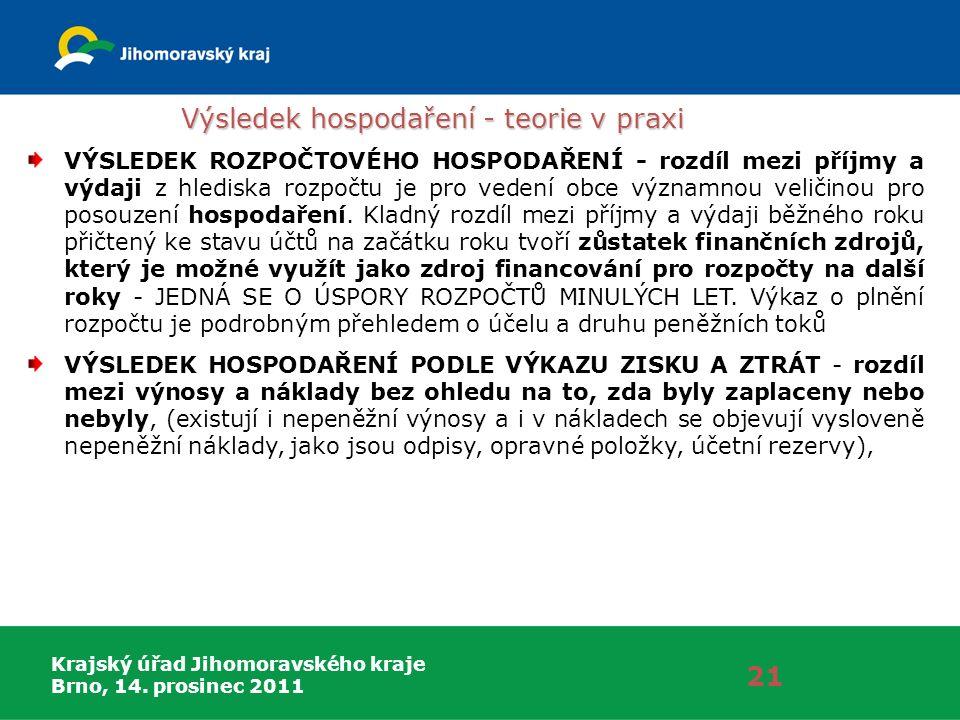 Krajský úřad Jihomoravského kraje Brno, 14. prosinec 2011 Výsledek hospodaření - teorie v praxi 21 VÝSLEDEK ROZPOČTOVÉHO HOSPODAŘENÍ - rozdíl mezi pří