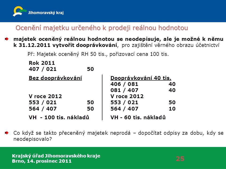 Krajský úřad Jihomoravského kraje Brno, 14. prosinec 2011 Ocenění majetku určeného k prodeji reálnou hodnotou 25 majetek oceněný reálnou hodnotou se n