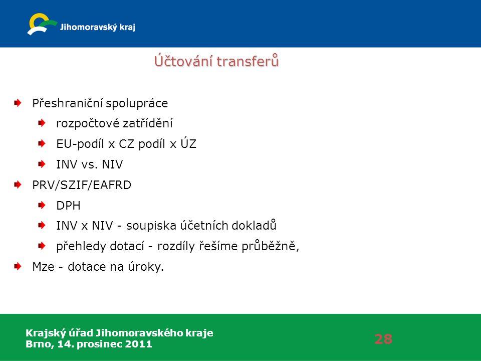 Krajský úřad Jihomoravského kraje Brno, 14. prosinec 2011 Účtování transferů 28 Přeshraniční spolupráce rozpočtové zatřídění EU-podíl x CZ podíl x ÚZ