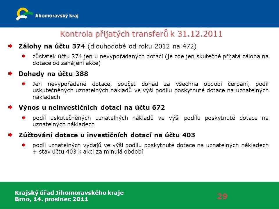 Krajský úřad Jihomoravského kraje Brno, 14. prosinec 2011 29 Zálohy na účtu 374 (dlouhodobé od roku 2012 na 472) zůstatek účtu 374 jen u nevypořádanýc