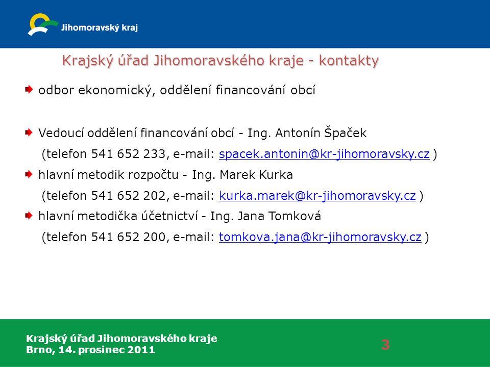 Krajský úřad Jihomoravského kraje Brno, 14. prosinec 2011 Krajský úřad Jihomoravského kraje - kontakty 3 odbor ekonomický, oddělení financování obcí V