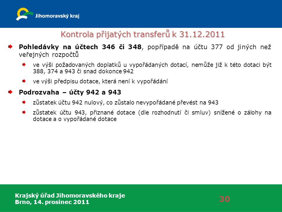 Krajský úřad Jihomoravského kraje Brno, 14. prosinec 2011 30 Pohledávky na účtech 346 či 348, popřípadě na účtu 377 od jiných než veřejných rozpočtů v