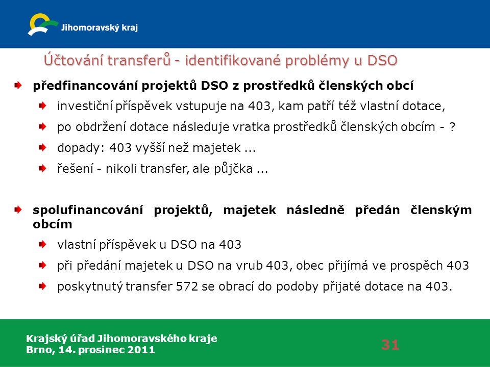 Krajský úřad Jihomoravského kraje Brno, 14. prosinec 2011 Účtování transferů - identifikované problémy u DSO 31 předfinancování projektů DSO z prostře