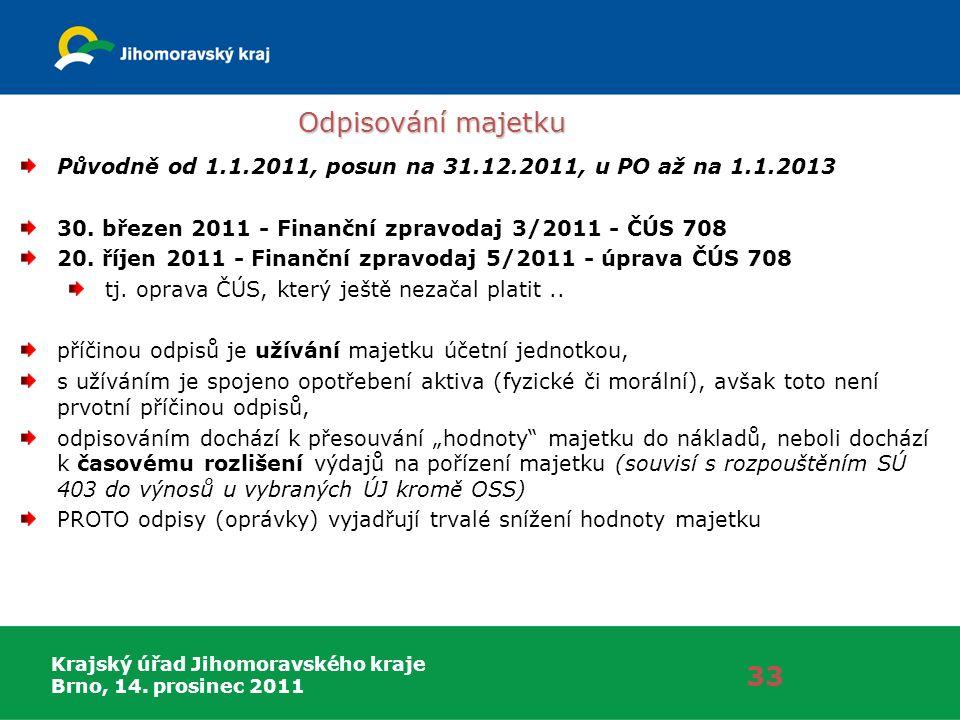 Krajský úřad Jihomoravského kraje Brno, 14. prosinec 2011 Odpisování majetku 33 Původně od 1.1.2011, posun na 31.12.2011, u PO až na 1.1.2013 30. břez