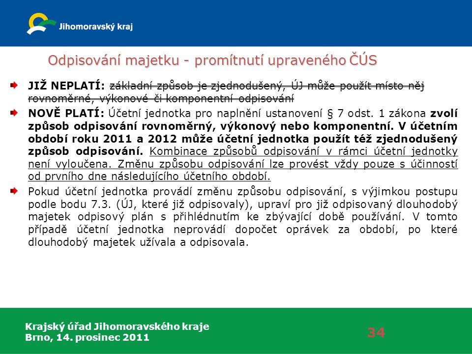 Krajský úřad Jihomoravského kraje Brno, 14. prosinec 2011 Odpisování majetku - promítnutí upraveného ČÚS 34 JIŽ NEPLATÍ: základní způsob je zjednoduše