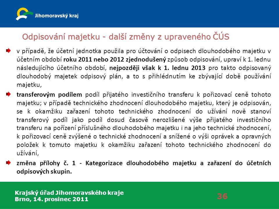Krajský úřad Jihomoravského kraje Brno, 14. prosinec 2011 Odpisování majetku - další změny z upraveného ČÚS 36 v případě, že účetní jednotka použila p