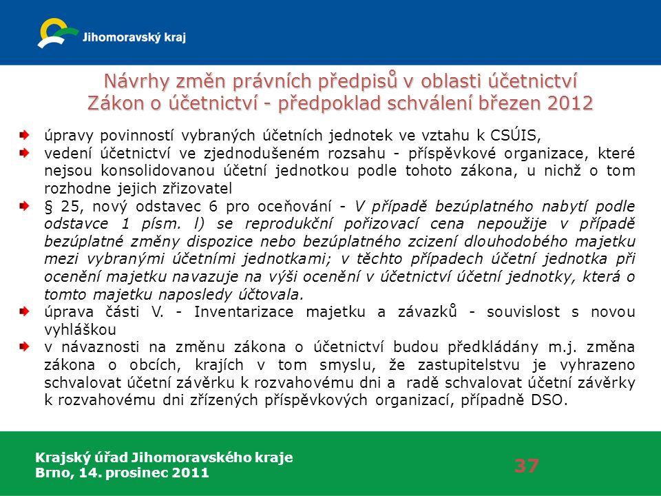 Krajský úřad Jihomoravského kraje Brno, 14. prosinec 2011 Návrhy změn právních předpisů v oblasti účetnictví Zákon o účetnictví - předpoklad schválení