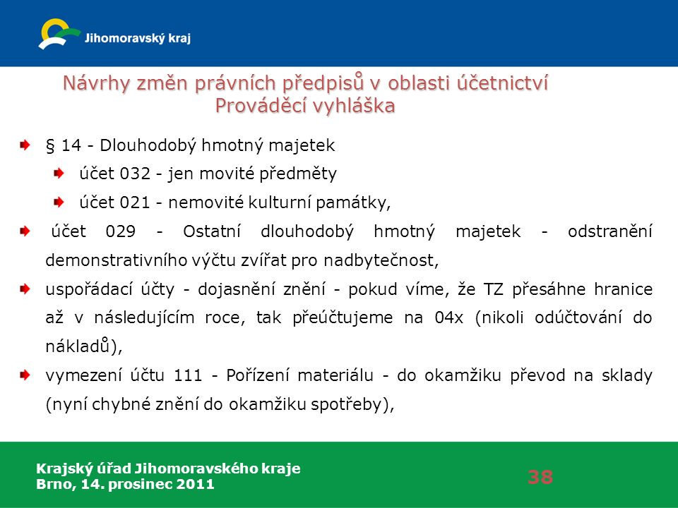 Krajský úřad Jihomoravského kraje Brno, 14. prosinec 2011 Návrhy změn právních předpisů v oblasti účetnictví Prováděcí vyhláška 38 § 14 - Dlouhodobý h