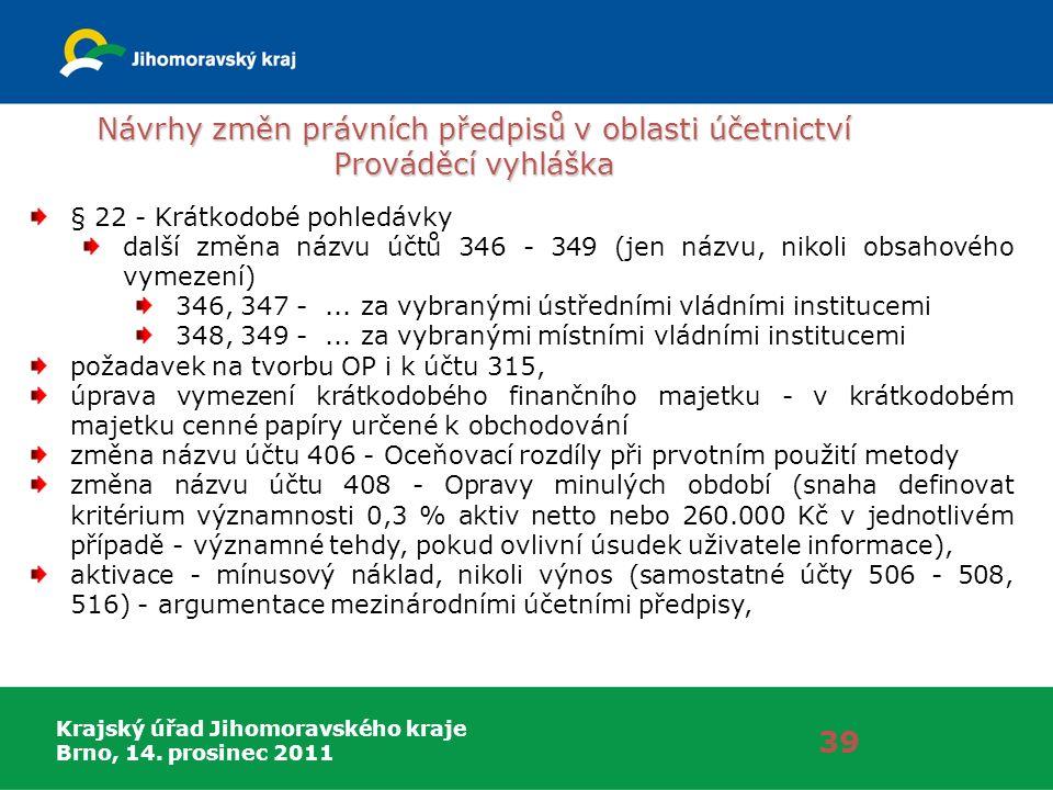 Krajský úřad Jihomoravského kraje Brno, 14. prosinec 2011 Návrhy změn právních předpisů v oblasti účetnictví Prováděcí vyhláška 39 § 22 - Krátkodobé p