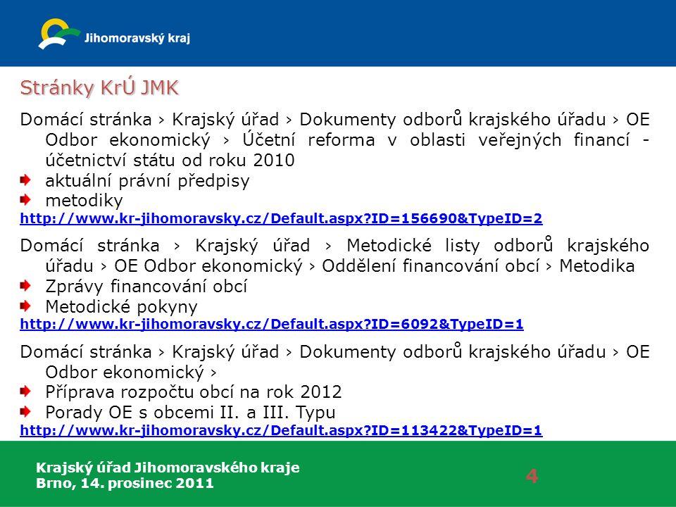 Krajský úřad Jihomoravského kraje Brno, 14. prosinec 2011 4 Stránky KrÚ JMK Domácí stránka › Krajský úřad › Dokumenty odborů krajského úřadu › OE Odbo