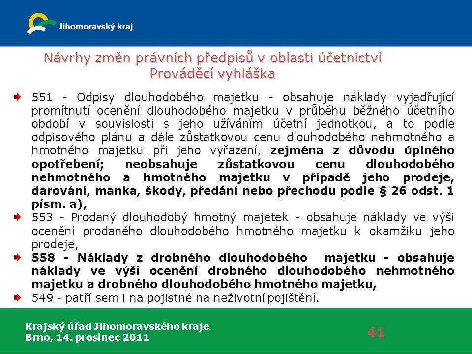 Krajský úřad Jihomoravského kraje Brno, 14. prosinec 2011 Návrhy změn právních předpisů v oblasti účetnictví Prováděcí vyhláška 41 551 - Odpisy dlouho