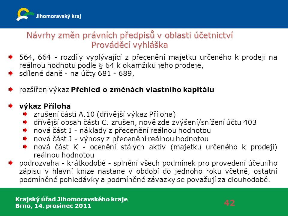 Krajský úřad Jihomoravského kraje Brno, 14. prosinec 2011 Návrhy změn právních předpisů v oblasti účetnictví Prováděcí vyhláška 42 564, 664 - rozdíly