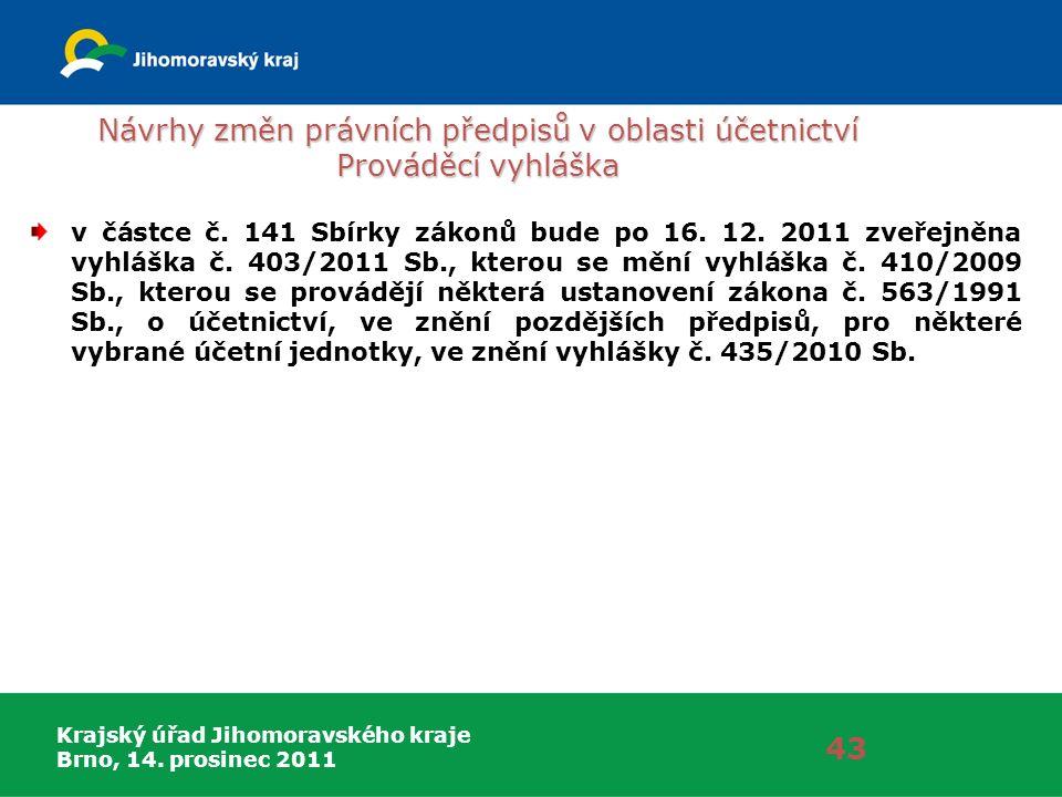Krajský úřad Jihomoravského kraje Brno, 14. prosinec 2011 Návrhy změn právních předpisů v oblasti účetnictví Prováděcí vyhláška 43 v částce č. 141 Sbí