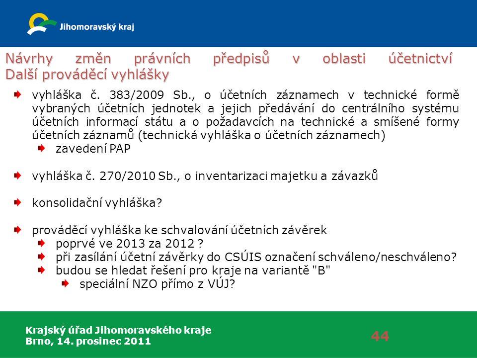 Krajský úřad Jihomoravského kraje Brno, 14. prosinec 2011 Návrhy změn právních předpisů v oblasti účetnictví Další prováděcí vyhlášky 44 vyhláška č. 3