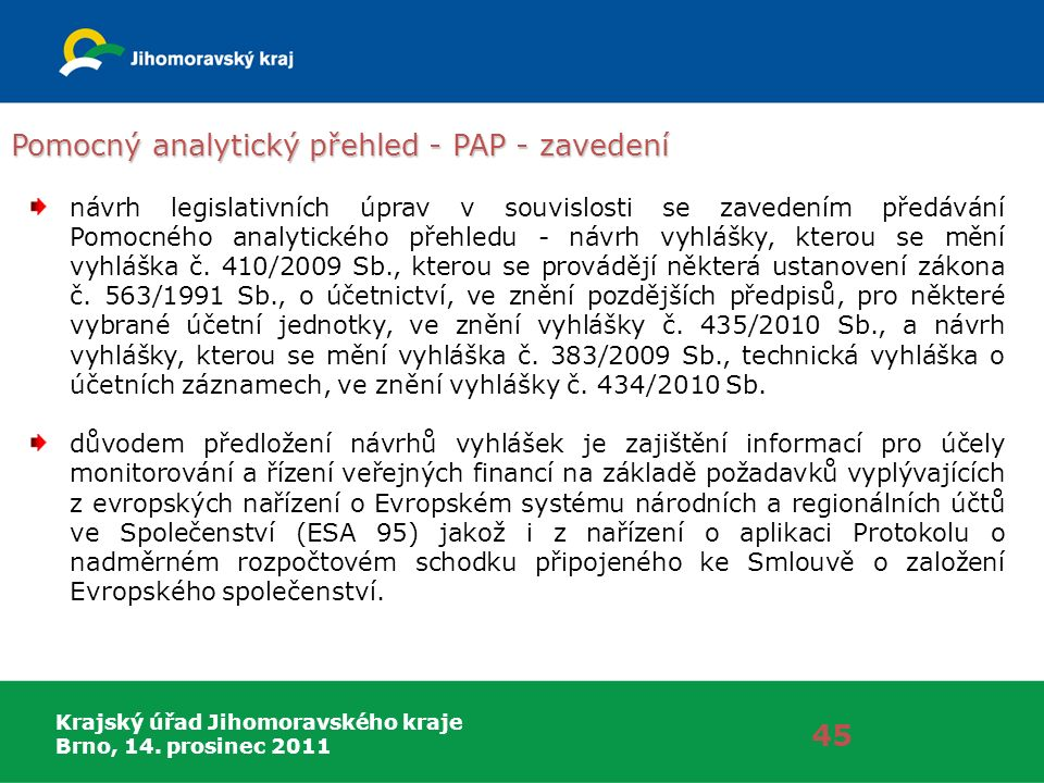 Krajský úřad Jihomoravského kraje Brno, 14. prosinec 2011 Pomocný analytický přehled - PAP - zavedení 45 návrh legislativních úprav v souvislosti se z