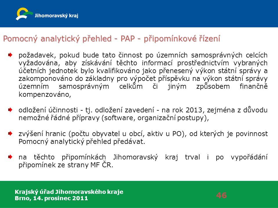 Krajský úřad Jihomoravského kraje Brno, 14. prosinec 2011 Pomocný analytický přehled - PAP - připomínkové řízení 46 požadavek, pokud bude tato činnost