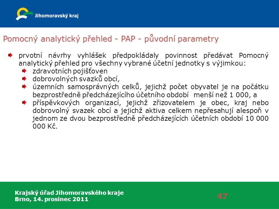 Krajský úřad Jihomoravského kraje Brno, 14. prosinec 2011 Pomocný analytický přehled - PAP - původní parametry 47 prvotní návrhy vyhlášek předpokládal