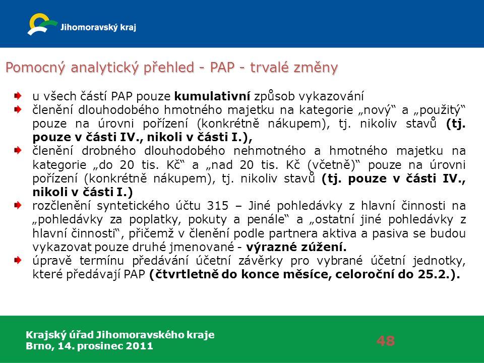 Krajský úřad Jihomoravského kraje Brno, 14. prosinec 2011 Pomocný analytický přehled - PAP - trvalé změny 48 u všech částí PAP pouze kumulativní způso