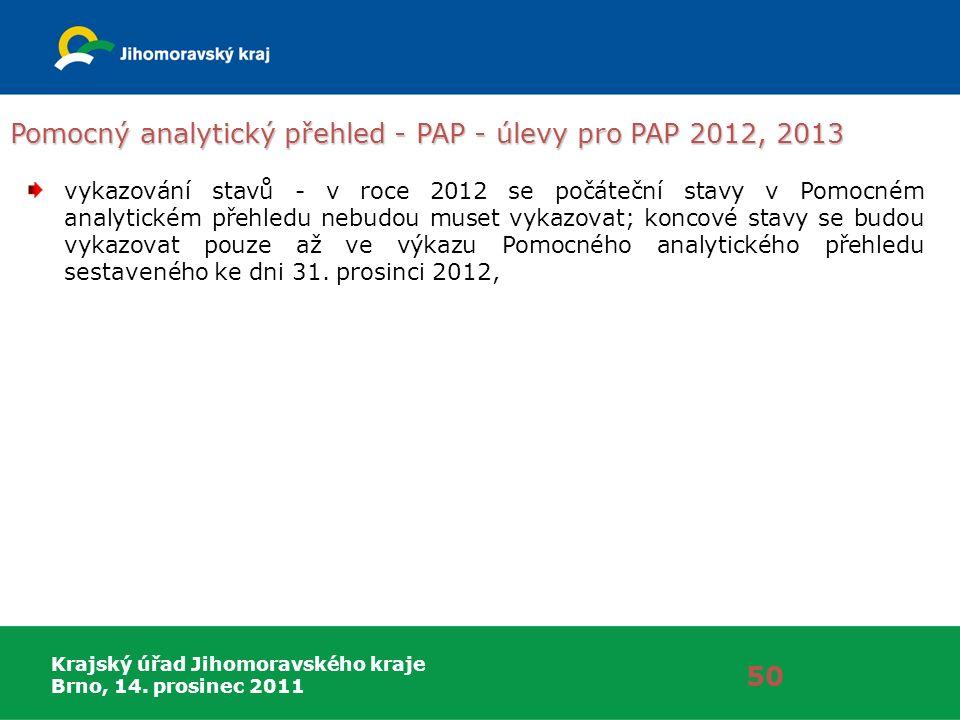 Krajský úřad Jihomoravského kraje Brno, 14. prosinec 2011 Pomocný analytický přehled - PAP - úlevy pro PAP 2012, 2013 50 vykazování stavů - v roce 201