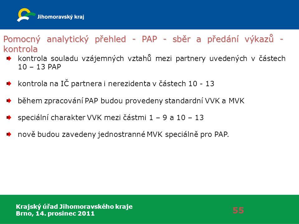 Krajský úřad Jihomoravského kraje Brno, 14. prosinec 2011 Pomocný analytický přehled - PAP - sběr a předání výkazů - kontrola 55 kontrola souladu vzáj