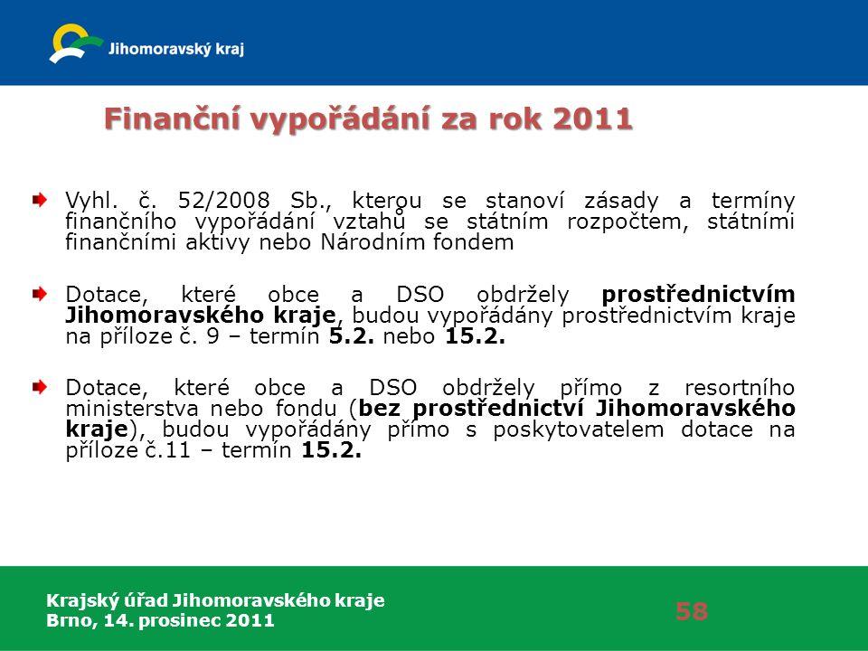 Krajský úřad Jihomoravského kraje Brno, 14. prosinec 2011 Finanční vypořádání za rok 2011 Vyhl. č. 52/2008 Sb., kterou se stanoví zásady a termíny fin
