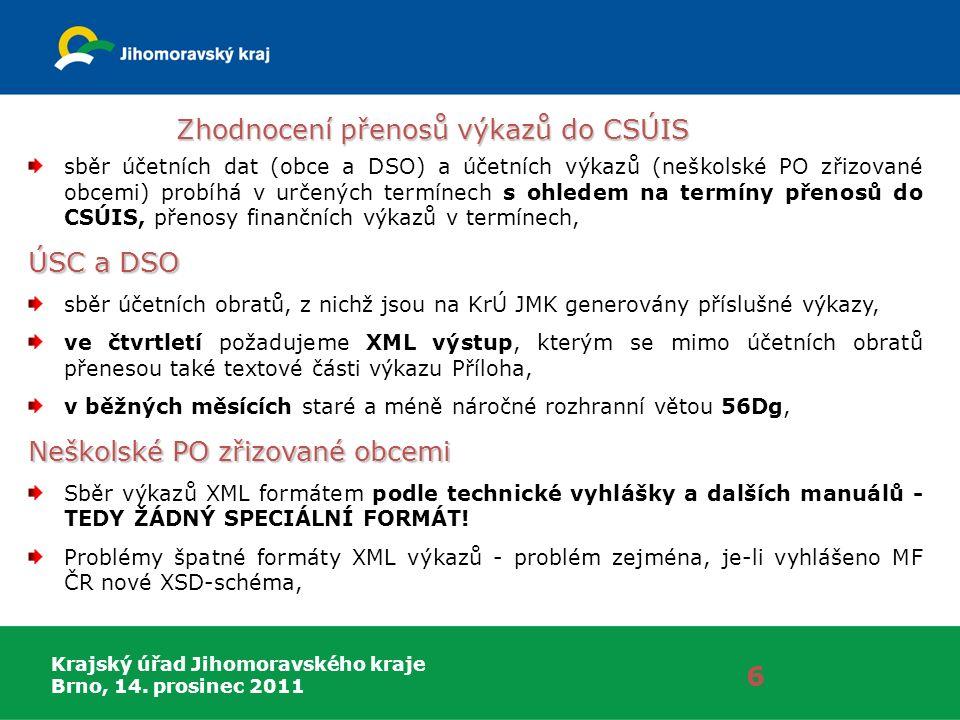 Krajský úřad Jihomoravského kraje Brno, 14. prosinec 2011 Zhodnocení přenosů výkazů do CSÚIS 6 sběr účetních dat (obce a DSO) a účetních výkazů (neško