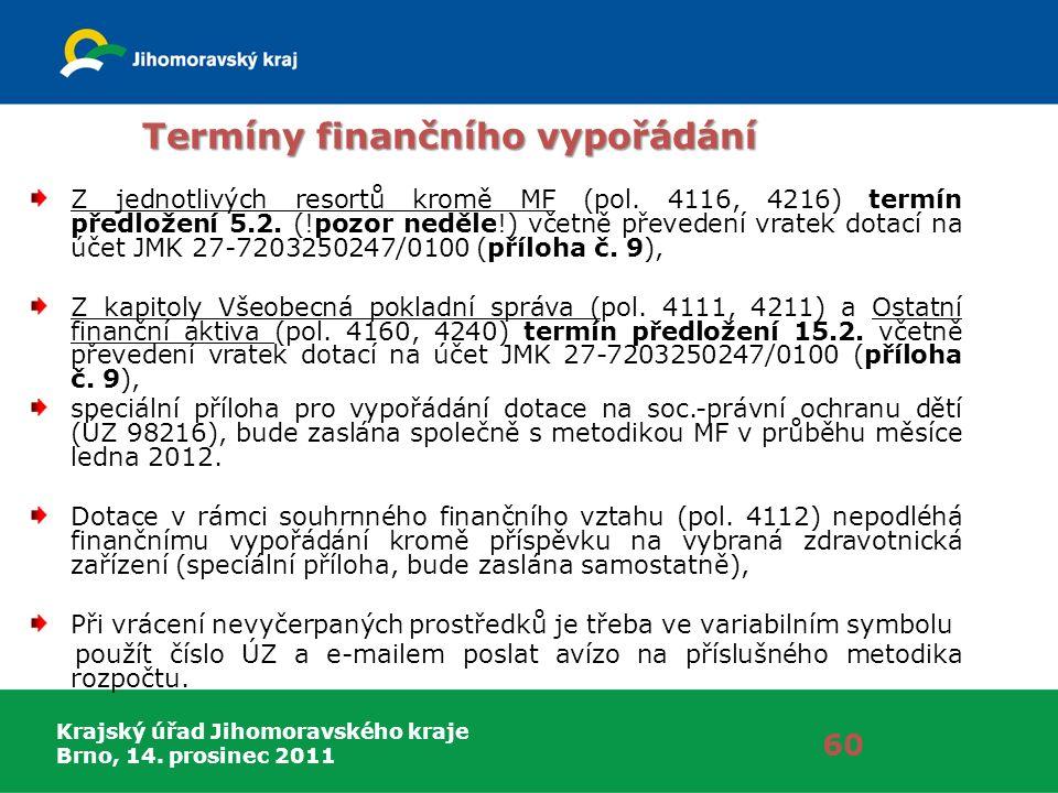 Krajský úřad Jihomoravského kraje Brno, 14. prosinec 2011 Termíny finančního vypořádání Z jednotlivých resortů kromě MF (pol. 4116, 4216) termín předl