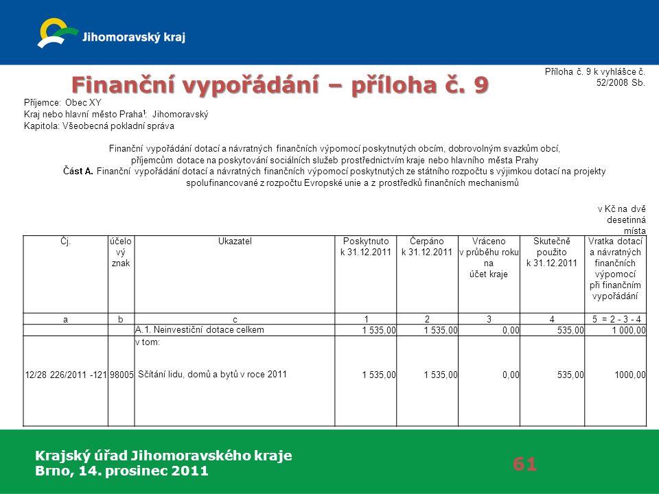 Krajský úřad Jihomoravského kraje Brno, 14. prosinec 2011 Finanční vypořádání – příloha č.