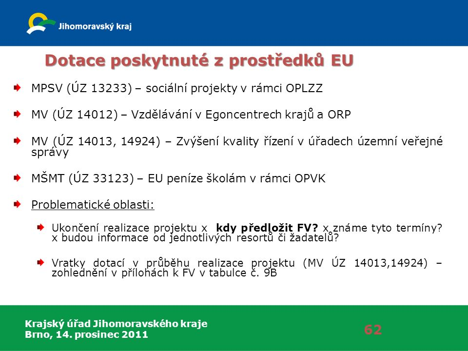 Krajský úřad Jihomoravského kraje Brno, 14. prosinec 2011 Dotace poskytnuté z prostředků EU MPSV (ÚZ 13233) – sociální projekty v rámci OPLZZ MV (ÚZ 1