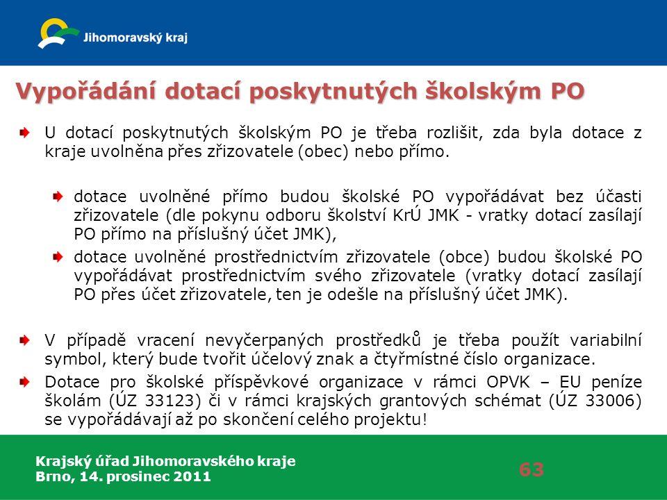 Krajský úřad Jihomoravského kraje Brno, 14. prosinec 2011 Vypořádání dotací poskytnutých školským PO U dotací poskytnutých školským PO je třeba rozliš