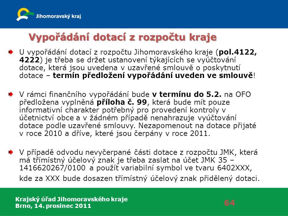 Krajský úřad Jihomoravského kraje Brno, 14. prosinec 2011 Vypořádání dotací z rozpočtu kraje U vypořádání dotací z rozpočtu Jihomoravského kraje (pol.
