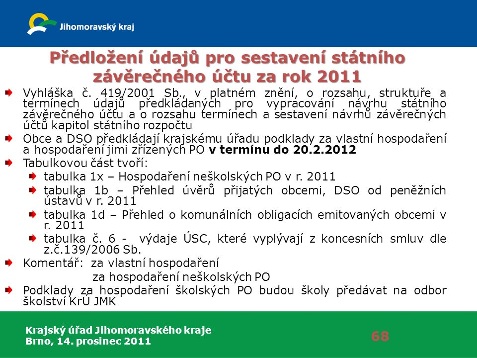 Krajský úřad Jihomoravského kraje Brno, 14. prosinec 2011 Předložení údajů pro sestavení státního závěrečného účtu za rok 2011 Vyhláška č. 419/2001 Sb