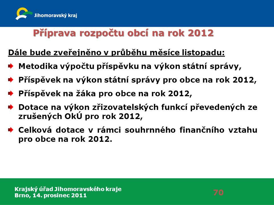 Krajský úřad Jihomoravského kraje Brno, 14. prosinec 2011 Příprava rozpočtu obcí na rok 2012 70 Dále bude zveřejněno v průběhu měsíce listopadu: Metod