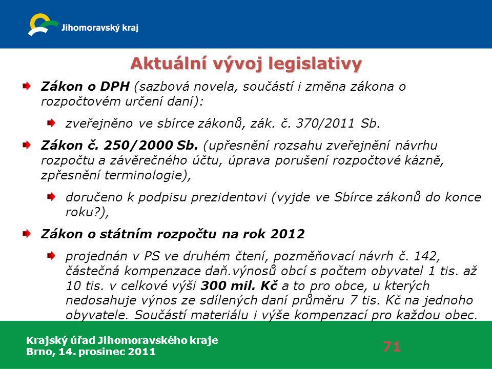 Krajský úřad Jihomoravského kraje Brno, 14. prosinec 2011 71 Aktuální vývoj legislativy Zákon o DPH (sazbová novela, součástí i změna zákona o rozpočt