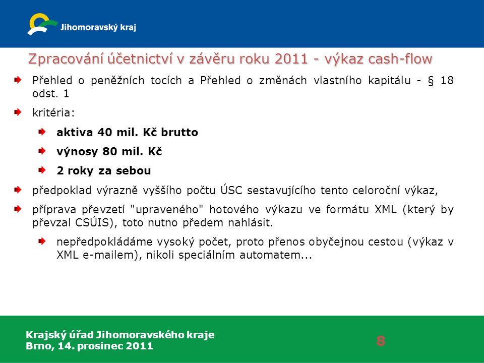 Krajský úřad Jihomoravského kraje Brno, 14. prosinec 2011 Zpracování účetnictví v závěru roku 2011 - výkaz cash-flow 8 Přehled o peněžních tocích a Př