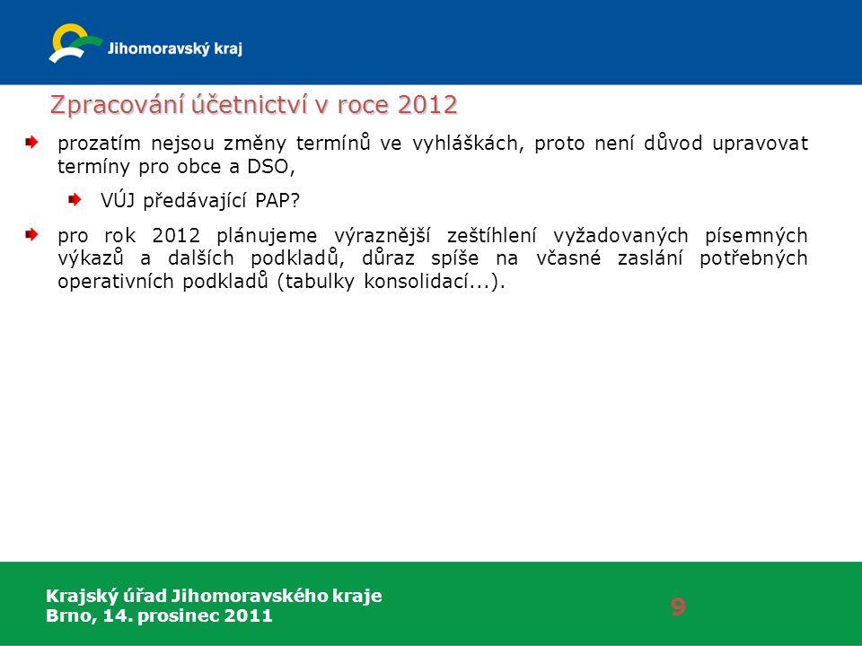 Krajský úřad Jihomoravského kraje Brno, 14. prosinec 2011 Zpracování účetnictví v roce 2012 9 prozatím nejsou změny termínů ve vyhláškách, proto není