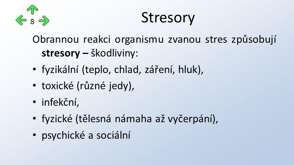 Obrannou reakci organismu zvanou stres způsobují stresory – škodliviny: fyzikální (teplo, chlad, záření, hluk), toxické (různé jedy), infekční, fyzické (tělesná námaha až vyčerpání), psychické a sociální Stresory 8