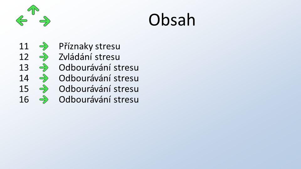 Obsah Příznaky stresu11 Zvládání stresu12 Odbourávání stresu13 Odbourávání stresu14 Odbourávání stresu15 Odbourávání stresu16
