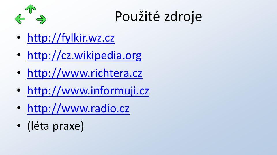 http://fylkir.wz.cz http://cz.wikipedia.org http://www.richtera.cz http://www.informuji.cz http://www.radio.cz (léta praxe) Použité zdroje