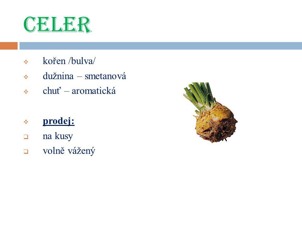 CELER  kořen /bulva/  dužnina – smetanová  chuť – aromatická  prodej:  na kusy  volně vážený