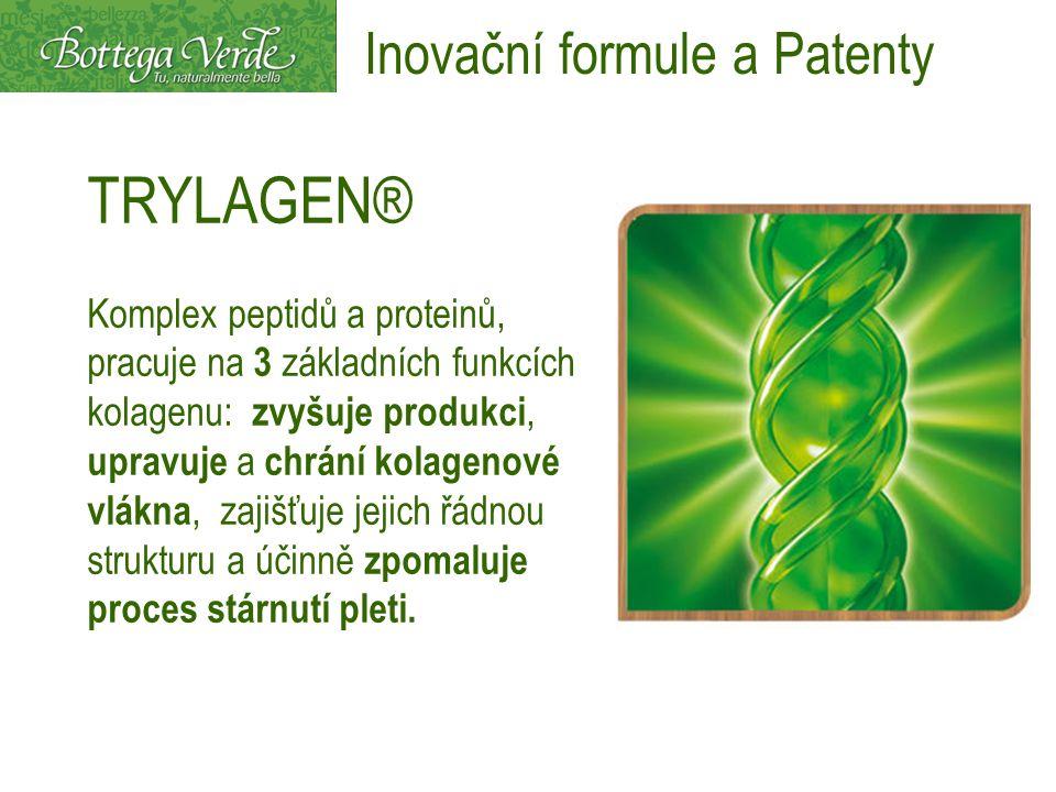 TRYLAGEN® Komplex peptidů a proteinů, pracuje na 3 základních funkcích kolagenu: zvyšuje produkci, upravuje a chrání kolagenové vlákna, zajišťuje jejich řádnou strukturu a účinně zpomaluje proces stárnutí pleti.