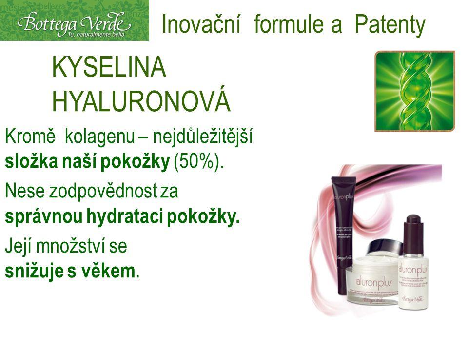 KYSELINA HYALURONOVÁ Kromě kolagenu – nejdůležitější složka naší pokožky (50%). Nese zodpovědnost za správnou hydrataci pokožky. Její množství se sniž