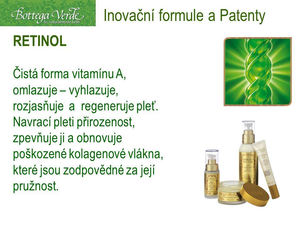 RETINOL Čistá forma vitamínu A, omlazuje – vyhlazuje, rozjasňuje a regeneruje pleť. Navrací pleti přirozenost, zpevňuje ji a obnovuje poškozené kolage
