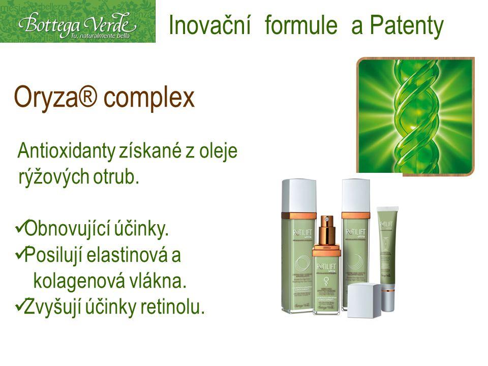 Oryza® complex Antioxidanty získané z oleje rýžových otrub. Obnovující účinky. Posilují elastinová a kolagenová vlákna. Zvyšují účinky retinolu. Inova