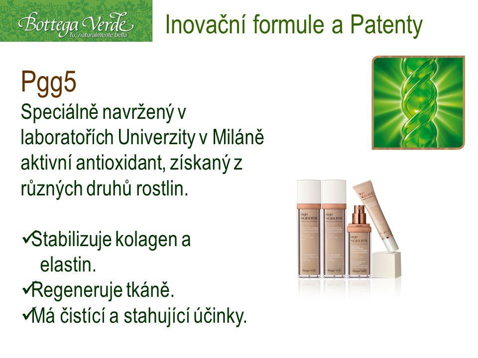 Pgg5 Speciálně navržený v laboratořích Univerzity v Miláně aktivní antioxidant, získaný z různých druhů rostlin. Stabilizuje kolagen a elastin. Regene